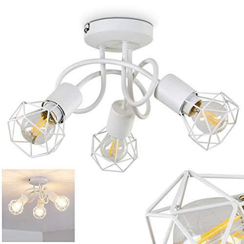 Deckenleuchte Baripada, Deckenlampe aus Metall in Weiß, 3-flammig, 3 x E14-Fassung max. 40 Watt, Spot im Retro/Vintage Design in Gitter-Optik und Lichteffekt an der Decke, LED geeignet