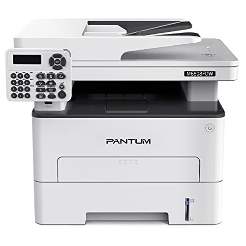 Pantum Multifunzione Stampante Laser Monocromatica All-in-One 30PPM Fax/Copia/Stampa/Scansione con ADF, Stampa Fronte/Retro Automatica, Rete/WI-FI/NFC, M6808FDW (White) (White)