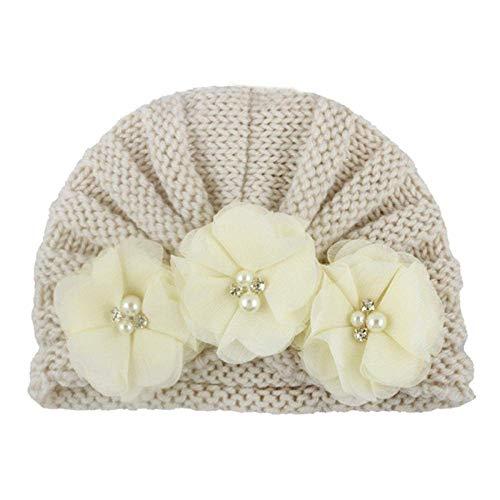 Sombreros de la Navidad, Cap de Navidad de la Novedad Adorable Amarillento bebé del Invierno Perlas de Cristal de Ganchillo Flores Turbante Espesar Elegante Regalo