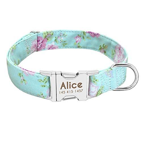 N\C Collar de perro personalizado de nailon para perro con placa de identificación I D collares ajustables para perros medianos y grandes grabados