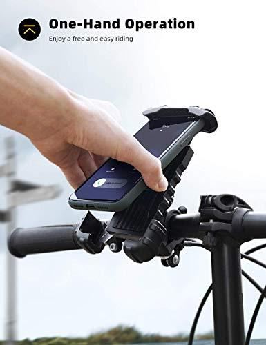 Handyhalterung Fahrrad, Handyhalter Motorrad - Edelstahl Universal 360 Grad Drehung Outdoor Fahrrad Halter für Phone 11 Pro Max, XR, 6S, Samsung S10, andere Smartphones -01
