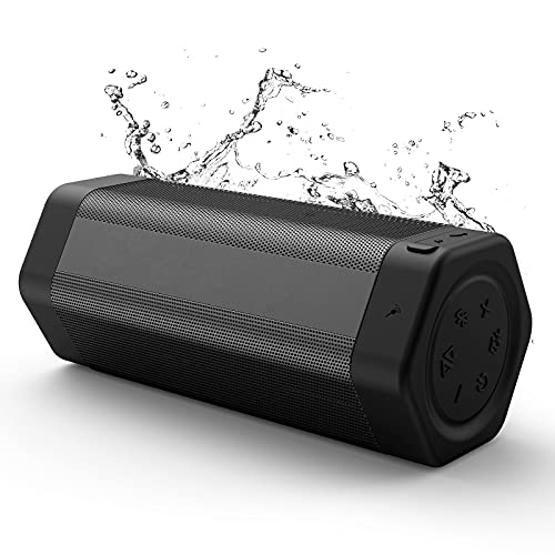 Bluetooth Speaker, Soundtank Portable Wireless Bluetooth Speaker with Bass Plus Mode, 20W Booming Sound, Waterproof IPX7, 24H Playtime, Stereo Pairing for Outdoor, Indoor, Travel (Black)