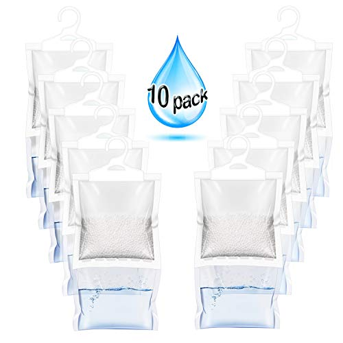 Check Out This ZMFH 10 Pack Moisture Absorber Hanging Bags, No Scent Max Odor Eliminator, 220g Dehum...