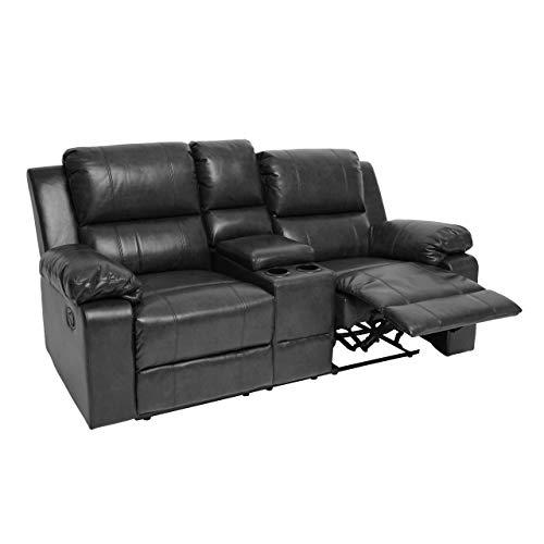 Mendler 2er Kinosessel HWC-H29, Relaxsessel Fernsehsessel Zweisitzer Sofa, Liegefunktion Soft Touch Kunstleder ~ schwarz