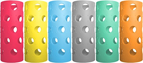 Brieftons Silicone Sleeves: 6-Pack Insulated Anti-Slip Protection Covers, Ultra Thick & Durable, Better Than Neoprene & Rubber, Also Perfect for Aquasana, Pratico Kitchen, Epica & Other Glass Bottles