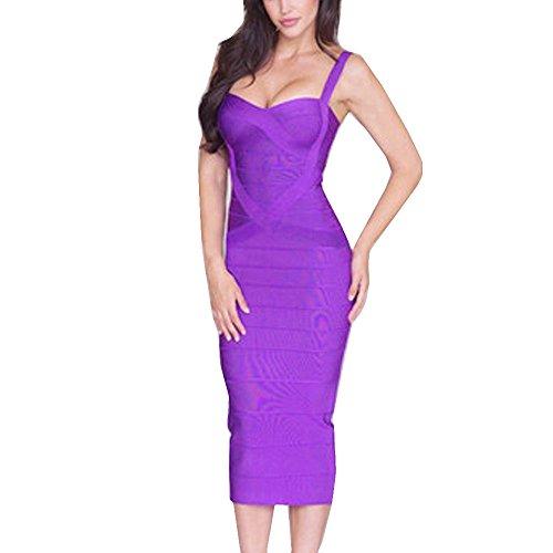 HLBandage Midi-Calf Solid Color Spaghetti Strap Rayon Bandage Dress (M,Purple)