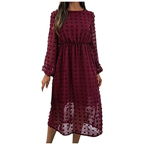 Rioge Kleider Damen Lang, Mode Einfarbig Jacquard Kleid mit Haarballen Casual Rundhals Langarm Blusenkleid Damen Midi Herbst Und Winter...