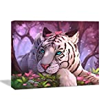 Looife Animals Canvas Wall Art, 24x16 Inch A Tiger with Pink Background Picture Prints Wall Decor Stretched on Wooden Frame, Home Deco for Nursery and Bedroom