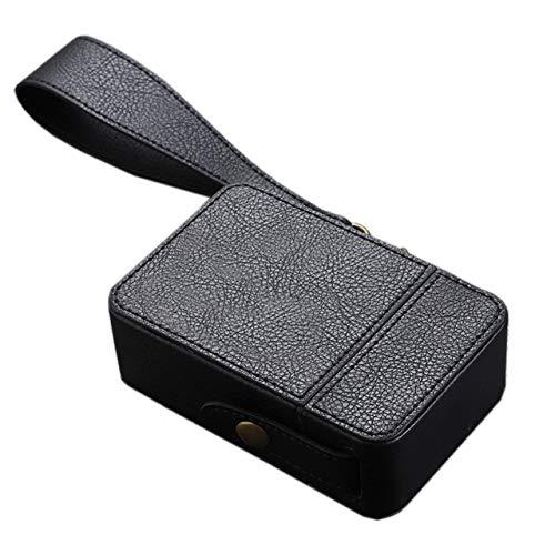 [HAMILO] 携帯たばこボックス たばこ収納ボックス 本革 ストラップ付きタバコケース (ブラック)