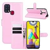 pinlu® PU Leder Tasche Handyhülle Für Samsung Galaxy M31 Smartphone Wallet Hülle Mit Standfunktion & Kartenfach Design Hochwertige Ledertextur Rosa