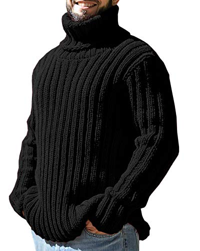 Domple Mens Multicolor Winter Turtle Neck Solid Slim Fit Pullover Cable Knit Sweater