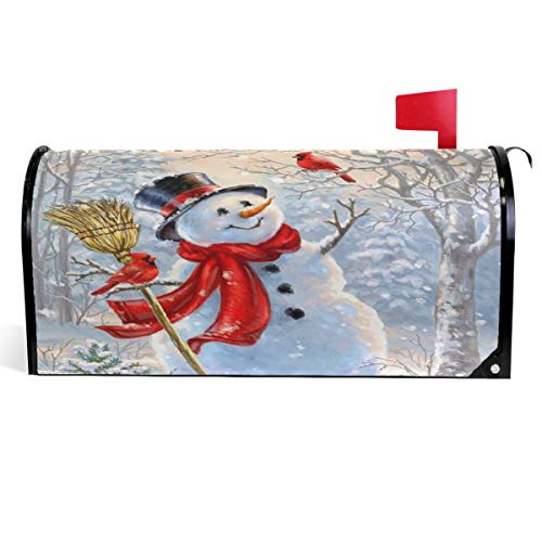 Wamika Winter Cardinals Snowman Mailbox Covers Magnetic Christmas Mailbox Cover Snow Forest Mailbox Wraps Post Letter Box Cover Garden Home Decor Standard Size 18' X 21'