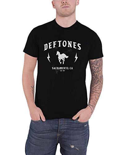 Deftones T-Shirt Electric Pony Band Logo New Official Herren, Schwarz XXL