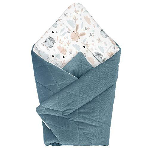 Manta para envolver al bebé Swaddle recién nacido – Saco de dormir para bebé, manta para bebé, manta para bebé, manta de 80 x 80 cm (cofre con búhos – Terciopelo verde)