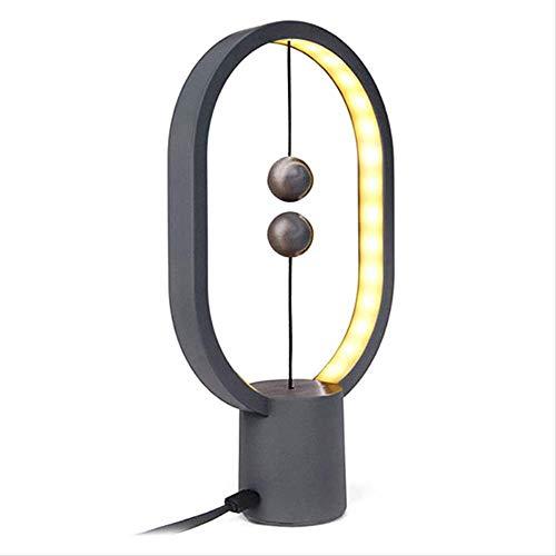 Tafellampen ZWRY Led Balance Lamp Novel Tafellamp Slaapkamer Nachtlampje Magnetische Mid-air schakelaar voor Huisdecoratie Licht 24.00x24.00x5.00cm Donkergrijs