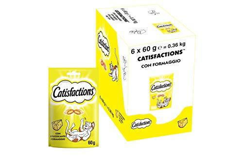 Catisfactions Snack per Gatto, Stuzzicante Formaggio, 6 Confezioni da 60 g