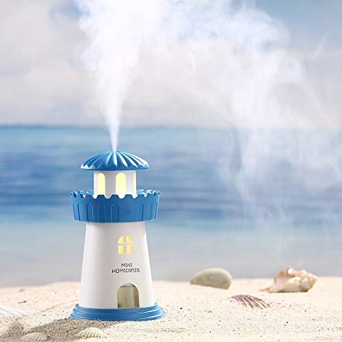 HEMIZA Lighthouse Shaped Air Diffuser Humidifier with Color Changing LED Night Light for Car, Office, Home