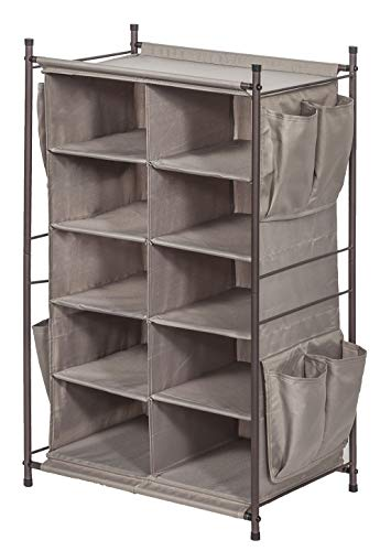 STORAGE MANIAC 5-Tier 10-Compartment Shoe Cubby Rack Organizer, Free Standing Shoe Cube for Closet, Entryway, Front Door, Grey