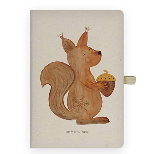 Mr. & Mrs. Panda Schreibbuch, Eintragebuch, DIN A5 Baumwoll Notizbuch Eichhörnchen Weihnachten - Farbe Transparent