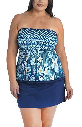 Maxine Of Hollywood Women's Plus Size Ruffle Bandeau Tankini Swimsuit Top, Navy//Ikat Border, 18W