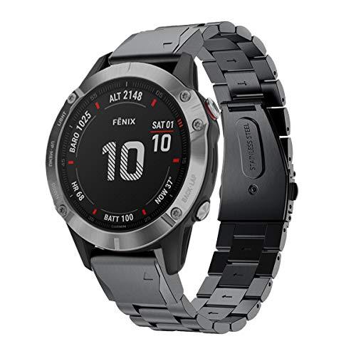 Correa de repuesto GOSETH para reloj Garmin Fenix 5, de acero inoxidable, correa de metal de liberación rápida para Garmin Fenix 5, color negro