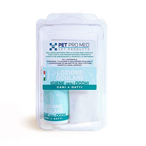 Virosac PetProMed - Lozione oculare ideale per l'igiene degli occhi per cani e gatti - 1 flacone da 100 ml e una confezione di salviette