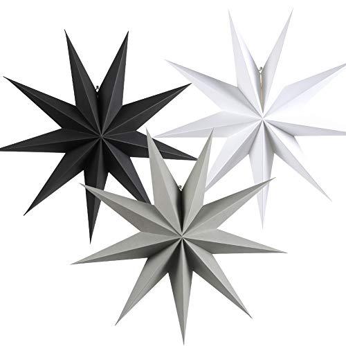 SUNBEAUTY 60cm Papier Stern Dekoration 3er Set Faltsterne Neuneck Weihnachtsstern Deko (Schwarz & Weiß & Grau)