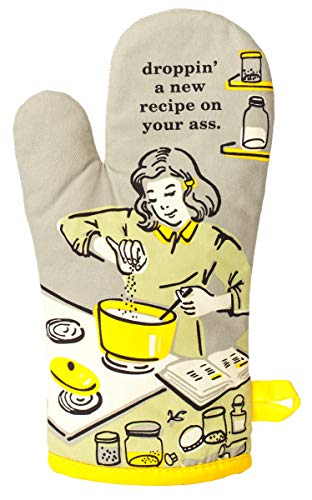 Blue Q Oven Mitt, Droppin' a New Recipe on Your Ass, super-insulated quilting, natural-fitting shape, 100% cotton
