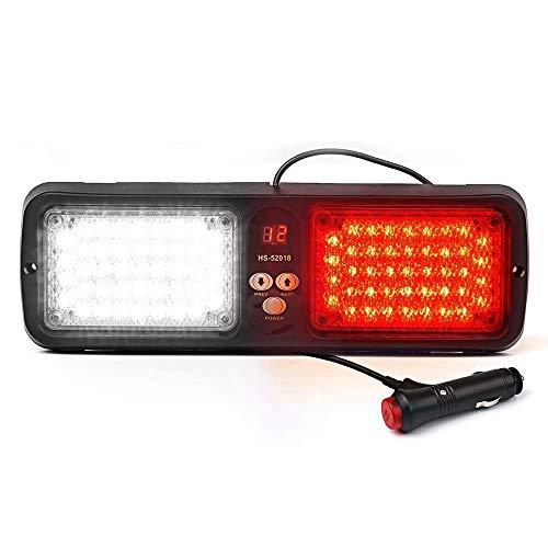AIHOUSE 86 LED 12 Modo Intermitente Emegency Vehículo Dash Advertencia Estroboscópico Luz de Flash LED, Visera de Parasol Luz estroboscópica con Adaptador de Encendido/Interruptor,Red & White