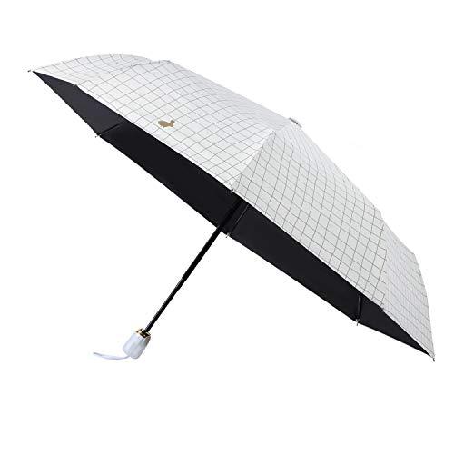 Lemmikki Sombrilla Paraguas Plegable Compacto para el Sol & Lluvia 99% de Protección UV con Revestimiento Anti-UV Negro, UPF50+,Abrir y Cerrar Automáticamente A Prueba de Viento, Beige