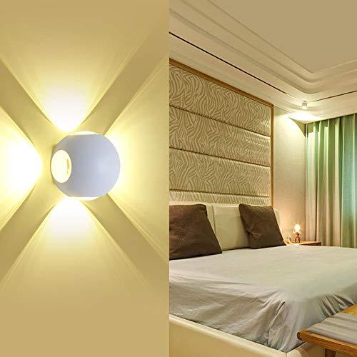 MJSM LED-wandlampen voor hal, 4 kanten, waterdicht, voor buiten, decoratie, achtergrond van aluminium, KTV, rond, warm wit, 3000 K, wit, 4 W