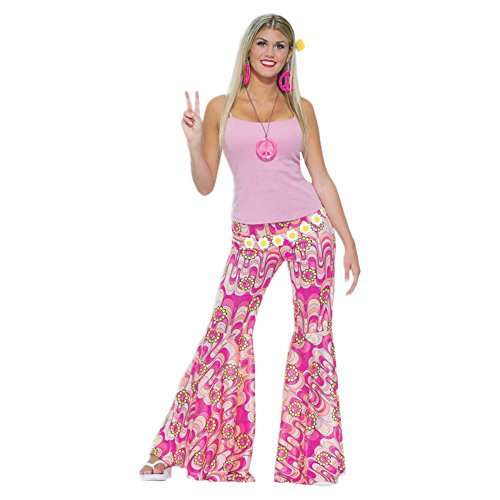 Pink Flower Power Bell Bottom Trousers. Ideal for 70s dress-up. Medium size with elasticated waist.