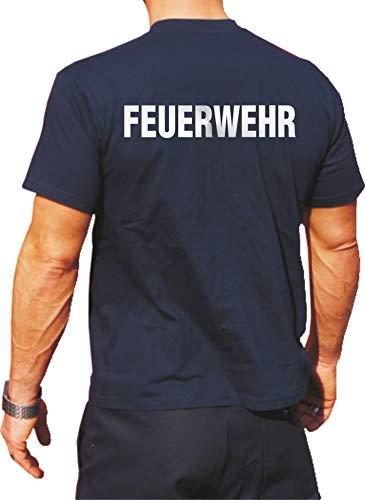 feuer1 T-shirt Inscription FEUERWEHR réfléchissante avant et arrière Argenté Bleu Bleu L