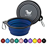 Rest-Eazzzy Collapsible Dog Bowls for Travel, 2-Pack Dog Portable Water Bowl for Dogs Cats Pet Foldable Feeding Watering Dish for Traveling Camping Walking with 2 Carabiners, BPA Free (Grey&Navy)
