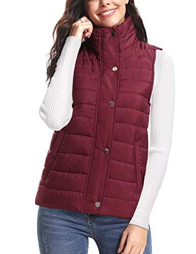 iClosam dames mouwloze jas Stand kraag lichtgewicht vest Gilet Puffer Zip gewatteerde jas