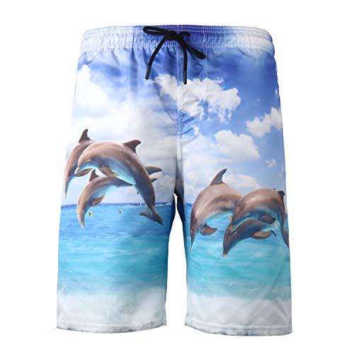 URVIP Badeshorts für Herren Jungen Schnelltrocknend Leicht Badehose Schwimmhose Männer Beachshorts Boardshorts Strand Shorts Multi-117 4XL