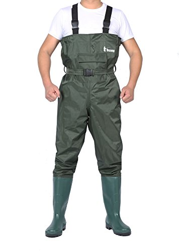 Ouzong Bootfoot Chest Waders,Cleated 2-Ply Nylon/PVC Fishing & Hunting Lightweight Waterproof Chest Waders for Men and Women (Green and Camo 9-13) (Green, 8)