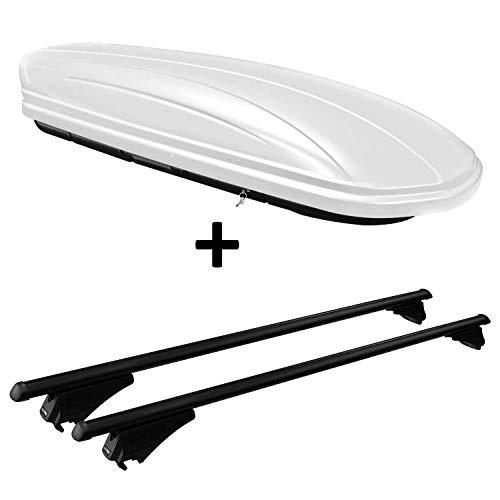 VDP Dachbox weiß VDPMAA320W 320 Liter abschließbar + Alu-Relingträger Dachgepäckträger aufliegende Reling im Set kompatibel mit Kia Sportage (SL) ab 2010