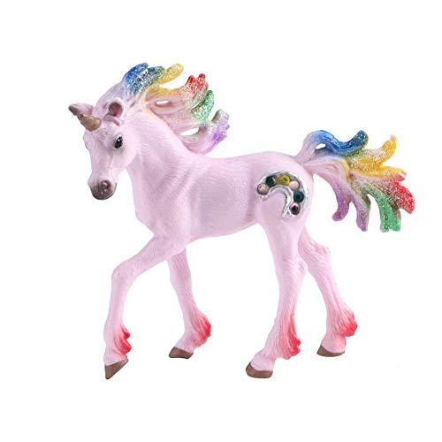Mini modelo de caballo rosa, modelo de caballo de juguete de plástico colorido
