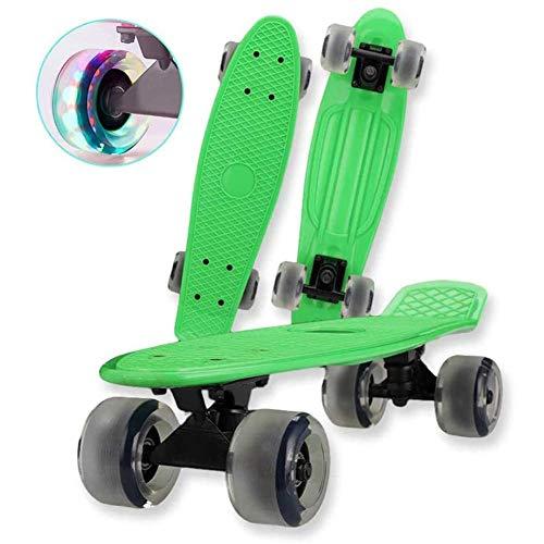 ZEH Skateboard mit LED-Licht bis Räder komplette Mini-Cruiser Retro Skateboard for Mädchen Jungen Teens Erwachsene, Anfänger, Rosa FACAI (Color : Green a)