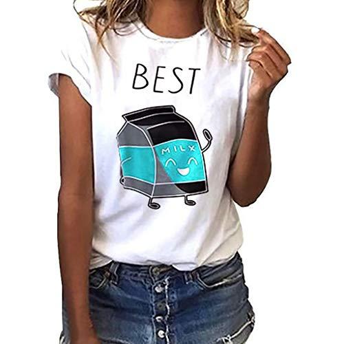 Tosonse Camiseta para Mujer Imprimir Tops Blusa Tanques Camisas Camiseta De Manga Corta Camiseta Pop Band Túnica Cuello Redondo