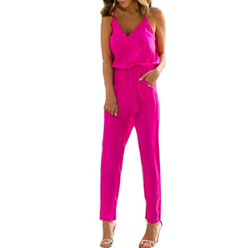 VEMOW Elegant Damen Damen Strappy V-Ausschnitt Tasche Playsuit Bodycon Party Täglich Beach Clubwear Jumpsuit(Hot pink, 44 DE/XL CN)