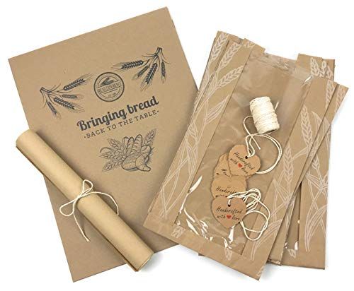 Bread Packaging Kit- Kraft Paper Bread Bags for Homemade Bread Gift Giving, Natural Unbleached Parchment Paper for Baking, Kraft Gift Tags Cotton Bakers Twine Gift Wrapping String – White Pack