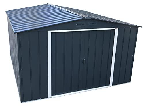Duramax Caseta de jardín de Metal Eco ALCOY 10X12 de Color Gris Unas Medidas 3.627 X 3.221 X 1.961 mm. Cobertizo,...