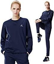 KEBILI Sauna Suit Round Women Weight Loss Gym Fitness Exercise Workout Sweat Training Hot Fat (Navy Round Suit, Top - M/Pants - M)