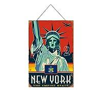 復活の像NEWTORH木製のリストプラーク木の看板ぶら下げ木製絵画パーソナライズされた広告ヴィンテージウォールサイン装飾ポスターアートサイン