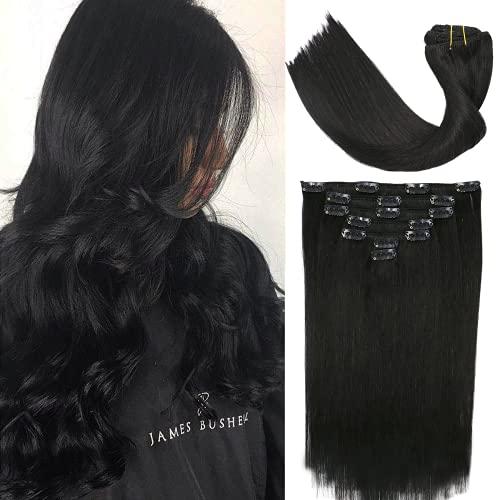VARIO Clip in extensions echthaar schwarz 70G Pechschwarzes Haar 38CM Geschenk für Frauen #1 extensions echthaar clip in