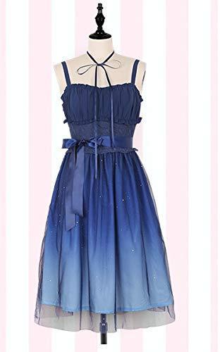 LJYNB Shinning Stars Lolita Dress Gradient Star Blue Girls Vestido de lujo slido Vestido plisado con pliegues de encaje con conjunto de camisa L solo vestido corto
