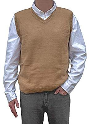 TINKUY PERU - Peruvian Alpaca Wool - Mens Knit V-Neck Pullover Sweater Classic Vest - Camel (XX-Large) from