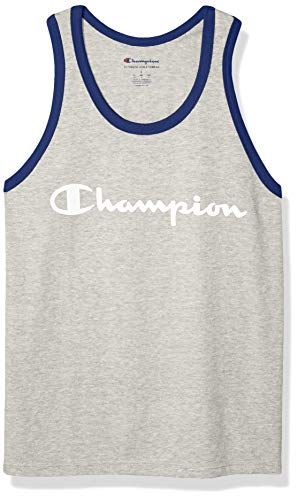 Champion Men's Classic Jersey Graphic Tank, Oatmeal Heather/surf The Web, X-Large